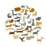 Cute dogs collection, sketch for your design. Vector illustration Royalty Free Stock Photography