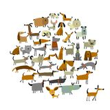 Cute dogs collection, sketch for your design. Vector illustration Stock Image