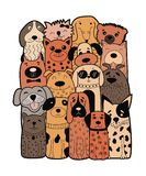 Cute dogs, doodle style. Funny animals. Vector illustration. Can be used for child books, cards, mug, T-shirt print Stock Photos