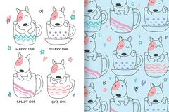 Cute dogs are hand drawn with editable patterns