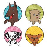 Cute dogs icon set Stock Photos