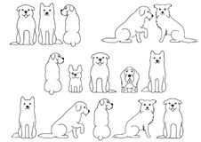 Cute dogs line art border set.  vector illustration