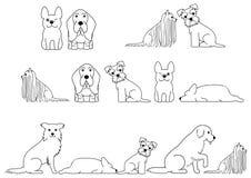Cute dogs line art border set.  royalty free illustration