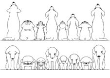 Cute dogs looking up and down border set. Black and white vector illustration