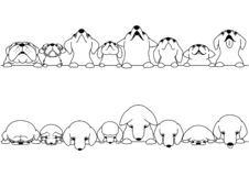 Cute dogs looking up and down border set. Black and white line art vector illustration