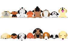 Cute dogs looking up and down border set. Multi colored royalty free illustration