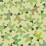 Cute dogs pattern in muted greens with pops of other colors stock illustration