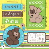 Cute dogs with paw print  illustration Stock Photo