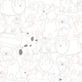 Cute Dogs. Pets. Seamless pattern background in outline style. Stock Image