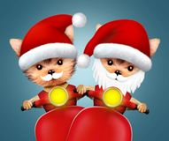 Cute Dogs Santa on a scooter. Christmas concept. Cute Dogs Santa on a scooter. New Year and Christmas concept. Realistic 3D illustration vector illustration