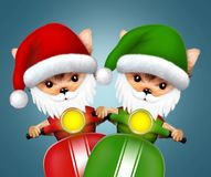 Cute Dogs Santa on a scooter. Christmas concept. Cute Dogs Santa on a scooter. New Year and Christmas concept. Realistic 3D illustration Royalty Free Stock Photography