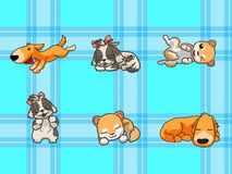 Cute dogs. With seamless pattern Stock Illustration