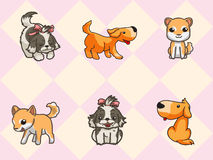 Cute dogs. With seamless pattern Vector Illustration