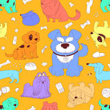 Cute Dogs. Seamless pattern background. Royalty Free Stock Photography