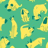 Cute dogs seamless pattern. Background with pets character in doodle simple style. Vector illustration. For fabric, textile, wrapping, other surfaces vector illustration