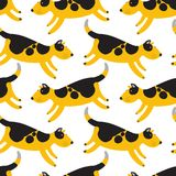 Cute dogs seamless pattern. Background with pets character in do. Odle simple style. Vector illustration for fabric, textile, wrapping, other surfaces Royalty Free Stock Images