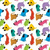 Cute dogs seamless pattern. Background with pets character in doodle simple style. Vector illustration. For fabric, textile, wrapping, other surfaces royalty free illustration
