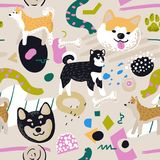 Cute Dogs Seamless Pattern. Childish Background with Akita Inu and Abstract Elements. Baby Freehand Doodle for Fabric. Textile, Wallpaper, Wrapping. Vector royalty free illustration