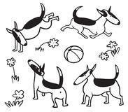 Cute dogs set. Bullterrier pet character in sketchy style. Vector illustration. In doodle line art style with playful cheerful puppy stock illustration