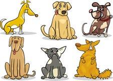 Cute dogs set cartoon illustration Stock Photos