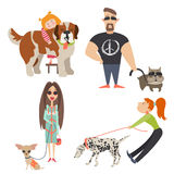 Cute dogs with their owners. Vector flat illustration Royalty Free Stock Photo