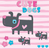 Cute dogs vector illustration Royalty Free Stock Images