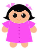 Cute Doll. A cute little doll with a pink dress on and pink ribbons on her black hair. Digital drawing Coloured Picture Stock Images