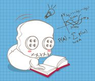 Cute doll is learning mathematics. stock illustration