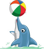 Cute dolphin cartoon playing ball Royalty Free Stock Photo