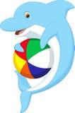Cute dolphin cartoon playing ball Stock Photo
