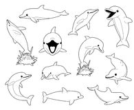 Cute Dolphin Coloring Book Cartoon Vector Illustration. Animal Characters EPS10 File Format Stock Images