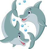 Cute dolphin couple cartoon Stock Photo