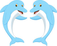 Cute dolphin couple cartoon waving Royalty Free Stock Photos