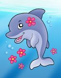 Cute dolphin girl in sea. Color illustration Stock Photos