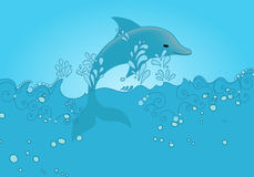 Cute dolphin jumping out of the ocean Royalty Free Stock Image