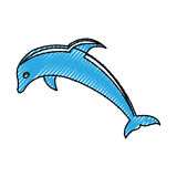 Cute dolphin silhouette icon Royalty Free Stock Images