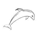 Cute dolphin silhouette icon Stock Photos