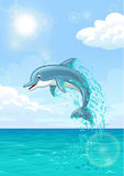 Cute dolphin in summer sea. The dolphin who is jumping out of sea water of the ocean in splashes against the blue sky and the sun. Vertical landscape background Stock Image