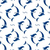Cute dolphins aquatic marine nature ocean seamless pattern mammal sea water wildlife animal  illustration. Cute dolphins aquatic marine nature ocean blue mammal Royalty Free Stock Photo