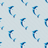 Cute dolphins aquatic marine nature ocean seamless pattern mammal sea water wildlife animal vector illustration. Royalty Free Stock Photos