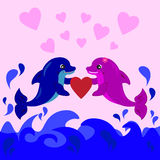 Cute dolphins cartoon Stock Images