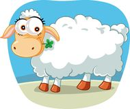Cute Sheep Chewing a Lucky Clover Cartoon Illustration Stock Images