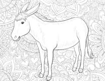 Adult coloring book,page a cute donkey image for relaxing.Zen art style illustration. A cute donkey on the background image on the background for relaxing vector illustration