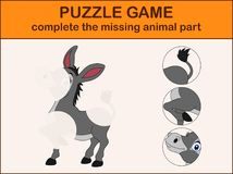 Cute donkey cartoon. Complete the puzzle and find the missing parts of the picture. Illustration of Cute donkey cartoon. Complete the puzzle and find the missing Stock Images