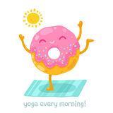Cute donut doing yoga in the morning. Stock Photo