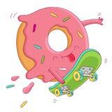 Cute donut rides on green skateboard Royalty Free Stock Photo