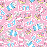 Cute donut seamless pattern with soft drink on pink background Royalty Free Stock Photography