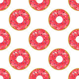 Cute donuts with colorful glazing seamless pattern . Stock Photography