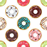 Cute donuts with colorful glazing seamless pattern . Royalty Free Stock Photography