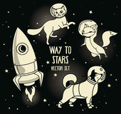 Cute doodle animal-astronauts and retro style rocket floating in space Stock Images